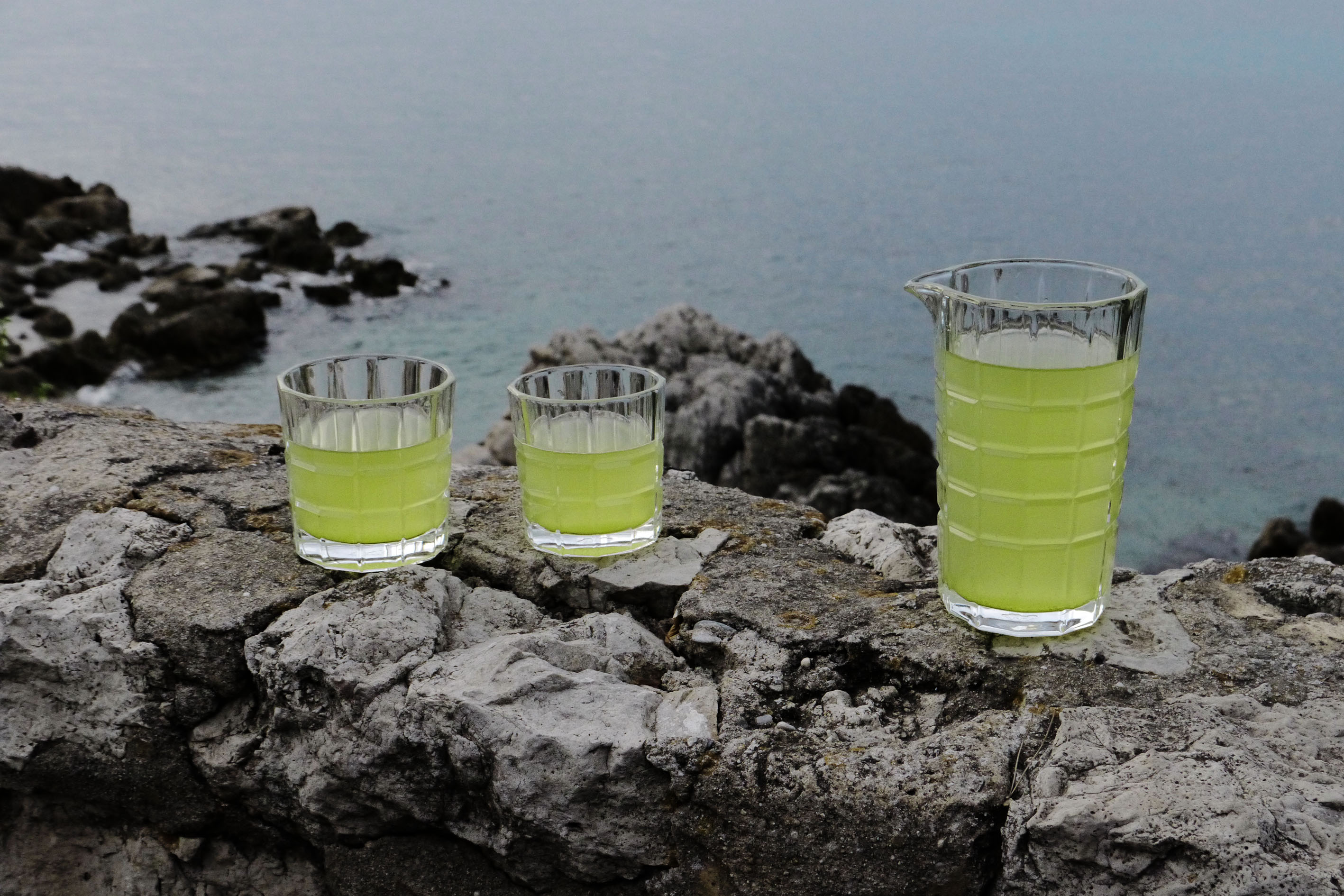 Green tea at the blue sea. Ready to enjoy both?